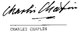 Charles Chaplin signature on his  commissioned artwork from  the Artist Ture Sjolander, 1973.
